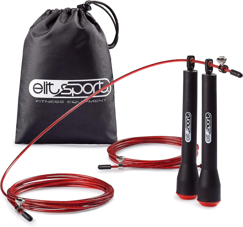 Hombre y Mujer Rodamientos Met/álicos Cable de Acero de 2.5 mm de Alta Velocidad con Recubrimiento de PVC ELIT SPORT Comba de Velocidad Corssfit Speed Rope Comba Profesional