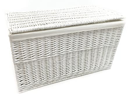 Ordinaire Topfurnishing Shabby Chic White Strong Wicker Storage Chest Trunk Toy  Blanket Box. Large 84x45x46cm