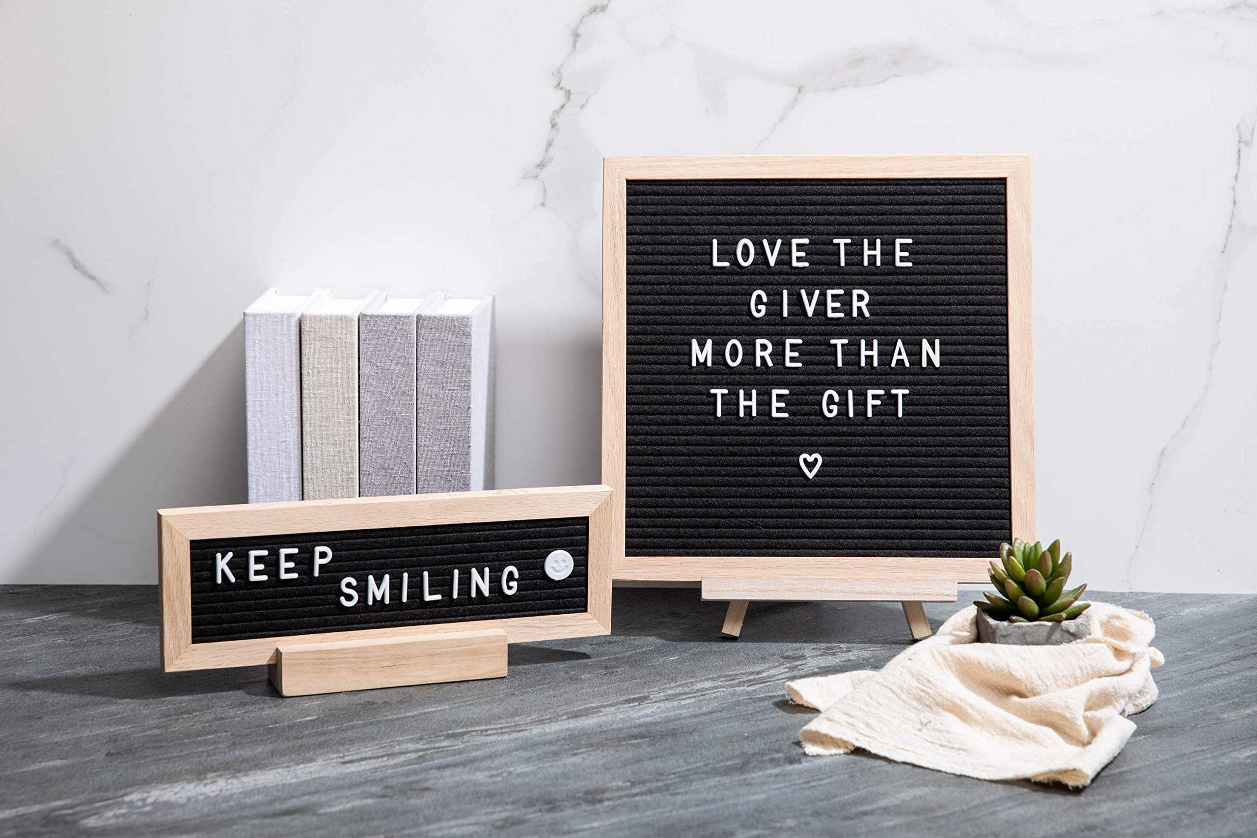 """ETHONS Felt Letter Board Super Pack - 2 Quality Letter Boards 12""""x12"""" & 12""""x4"""" - Personalize with 640 Characters in White & Gold - Gift-Ready Display Boards - Includes 2 Wood Stands and 2 Canvas Bags by ETHONS (Image #5)"""
