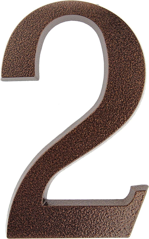 Huber Número 2 para puerta de casa, recubrimiento de polvo de aluminio, tridimensional, color cobre antiguo, 20cm