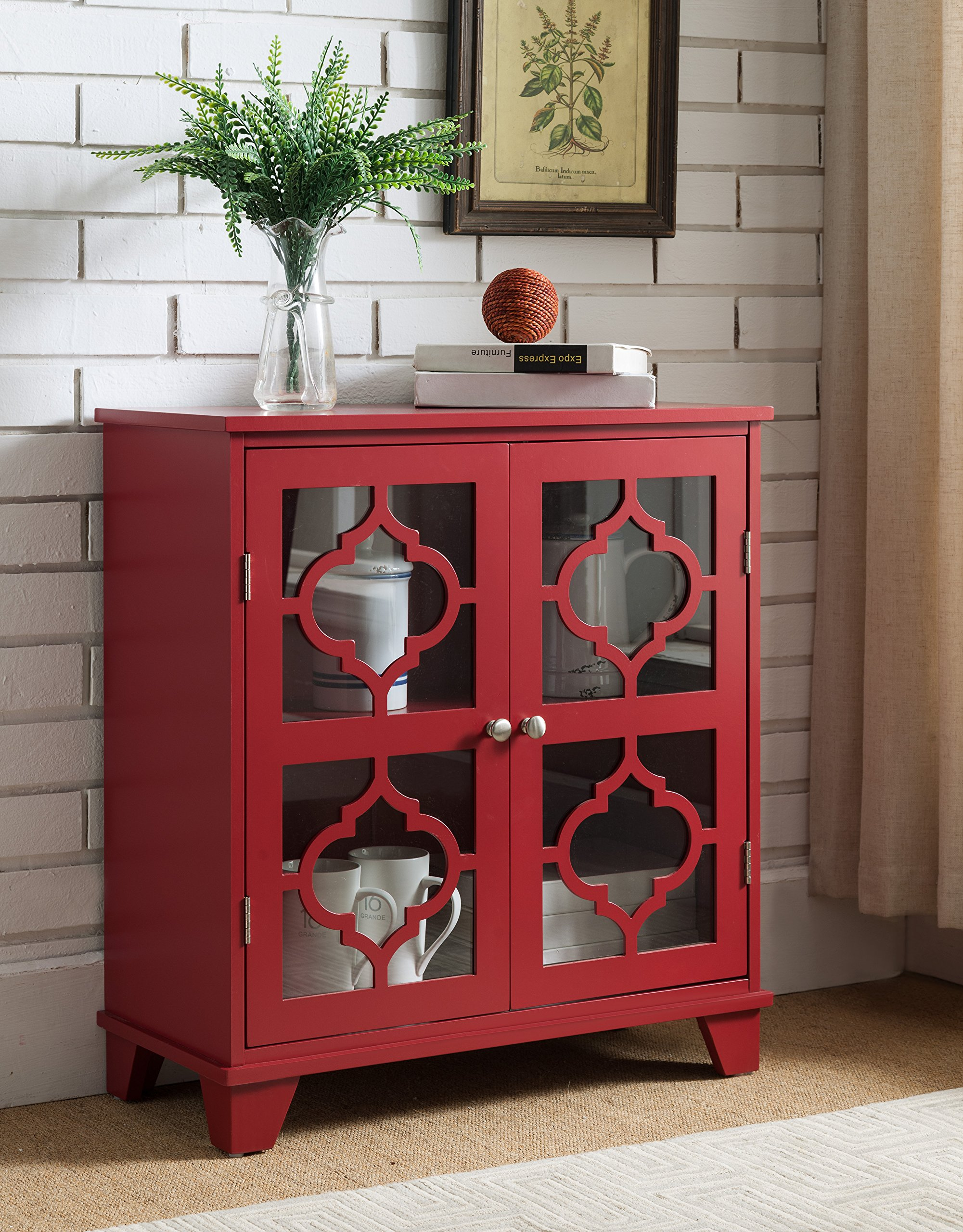 Kings Brand Furniture Red Finish Wood Buffet Cabinet Console Table - Kings Brand Furniture Red Finish Wood Buffet Cabinet Console Table. Add stylish storage to your home with this Kings Brand Furniture glass door cabinet. With two shelves and plenty of space, this cabinet adds storage room that's perfect for dishes, serving pieces, or anything you want to display. - sideboards-buffets, kitchen-dining-room-furniture, kitchen-dining-room - 919Q9svpFzL -