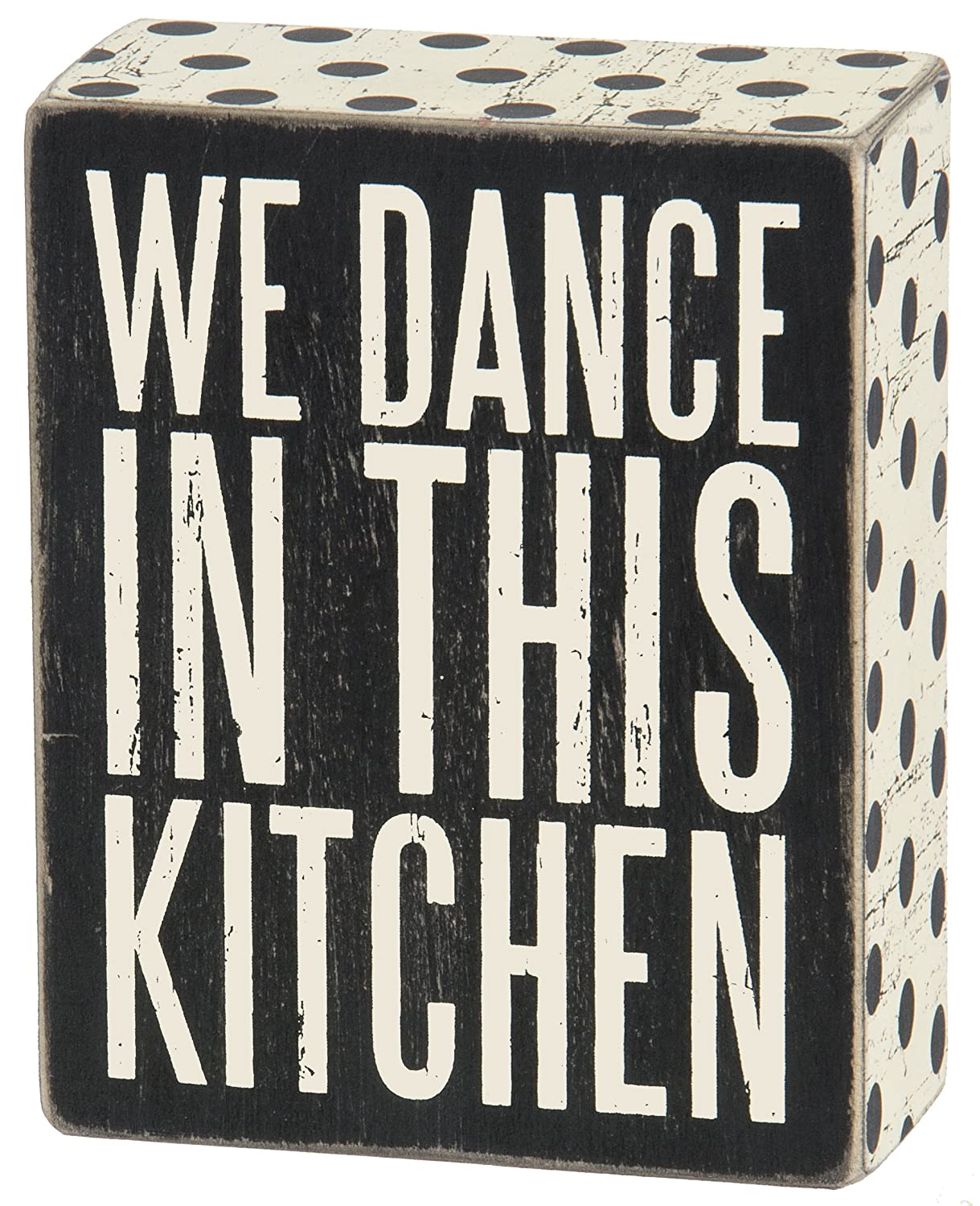 "Primitives by Kathy 25192 Polka Dot Trimmed Box Sign, 4"" x 5"", In This Kitchen"