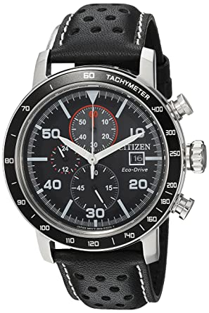 Citizen Men S Eco Drive Quartz Stainless Steel And Leather Casual Watch Color Black Model Ca0649 14e
