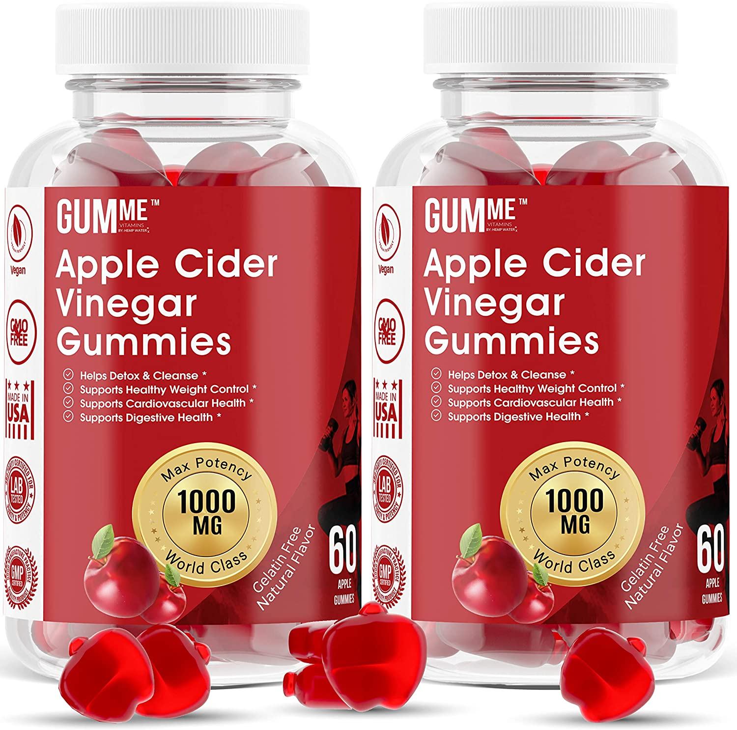 Apple Cider Vinegar Gummies with The Mother for Weight Control Vitamin B12, B9, Pomegranate, 1000mg Gummy Alternative to Apple Cider Vinegar Capsules, Pills, Acv Tablets 2 Pack 120 Count