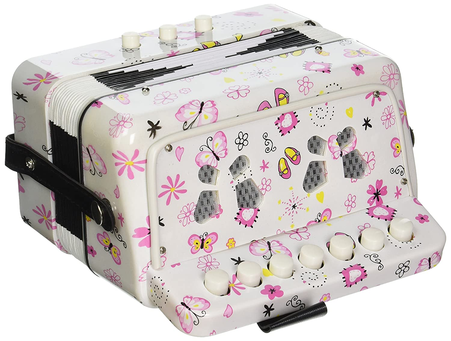 SKY Accordion Butterfly Pattern 7 Button 2 Bass Kid Music Instrument Easy to Play SKYACDBT