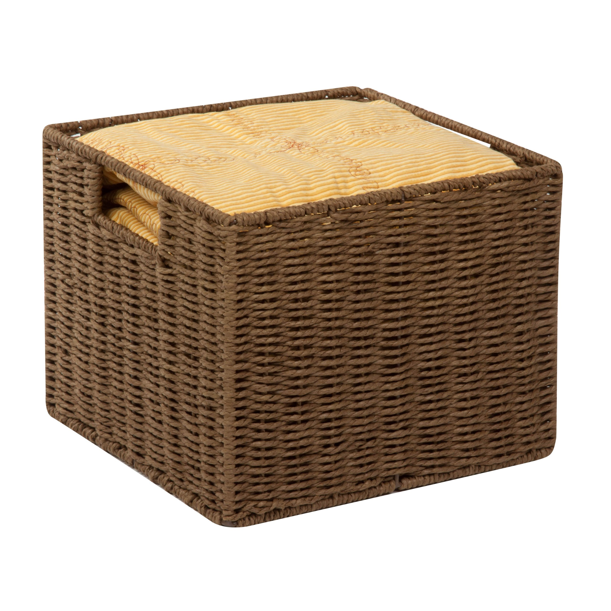 Honey-Can-Do STO-03567 Parchment Cord Crate with Handles, Brown, 12.2 x 13 x 10 inches