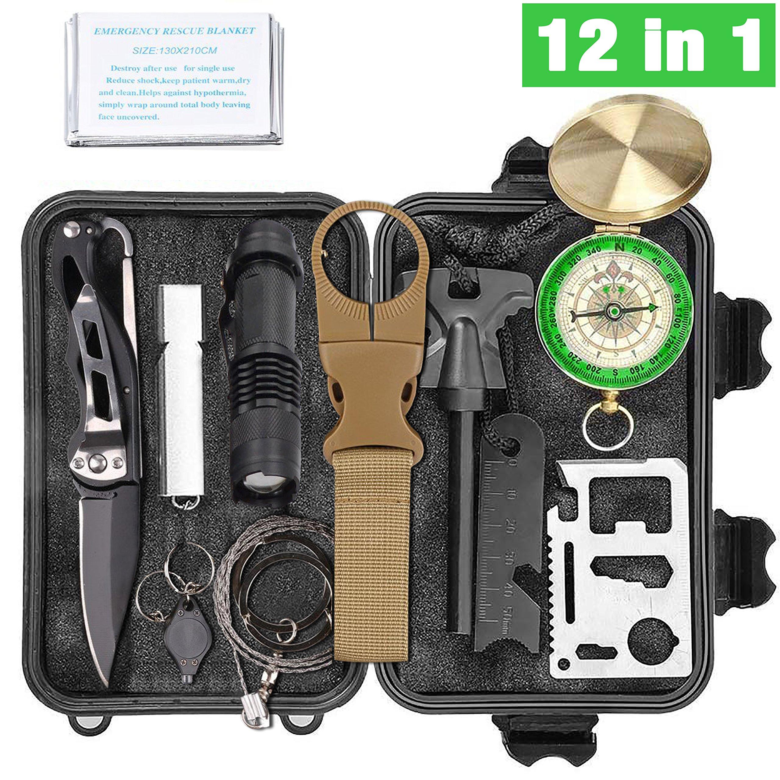 Kit de survie d\'urgence 12 en 1-Trousse Multi outils de survie professionnelle-Équipement complet de défense pour voyager, randonnée, cyclisme, escalade, camping et chasse en plein air, montagne, nature et forêt.