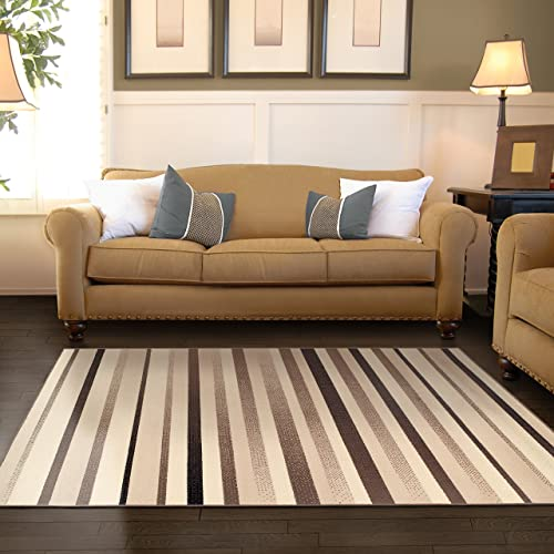 Superior Modern Corona Collection Area Rug, 8mm Pile Height with Jute Backing, Multicolored Stripe Pattern, Anti-Static, Water-Repellent Rugs – Beige, 5 x 8 Rug