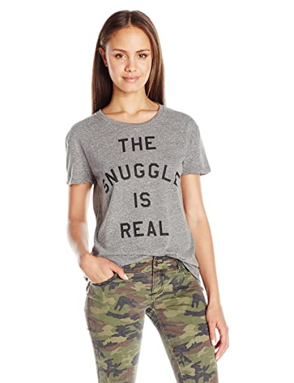 180a6faf4 Goodie Two Sleeves Juniors the Snuggle IS Real Graphic Tee at Amazon  Women's Clothing store: