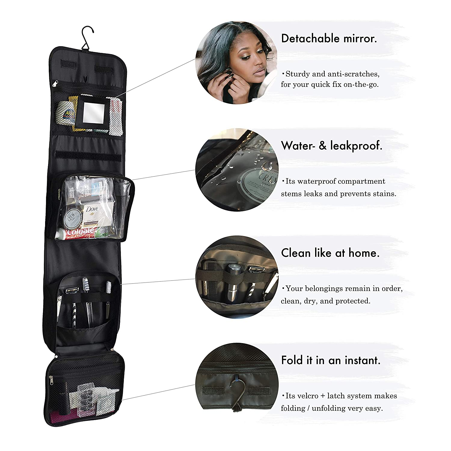 0fe14112a75 Hanging wash Bag with 100mL Travel Set and Mirror by Nomalite   Black Folding  Travel Toiletry Bag for Men   Women Ladies with Large Detachable Clear case.
