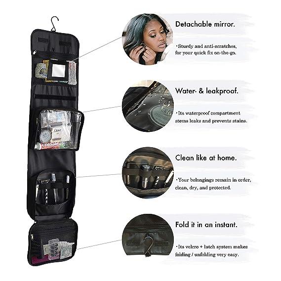 26a5f479c Neceser de Viaje Deluxe de Nomalite | Bolsa XL Viaje de Aseo Colgante,  Plegable, Compacto y Negro para Hombre, Mujer y niño. Set Deluxe (Incluye  Botellas de ...