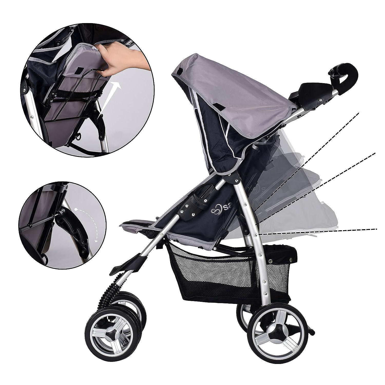 Baby Pram Pushchairs Buggy Stroller Safe/&Care Four Wheel Foldable Adjustable Jogger Travel System-Grey and Dark Grey