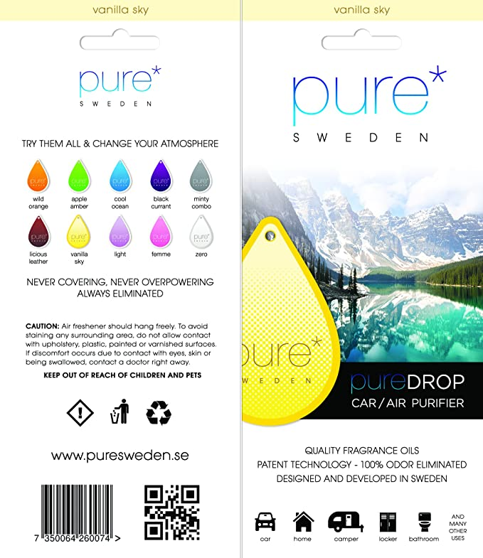 Amazon.es: Pure Drop Vanilla Sky, purificador de aire en papel, ambientador para coche, unidad de limpieza de aire natural, purificador de aire para el hogar, pureificador de actividad, para coches, barcos, campistas,