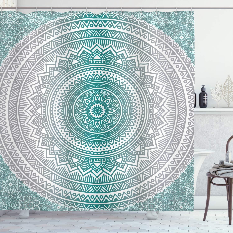 Ambesonne Grey and Teal Shower Curtain, Mandala Ombre Design Space Geometric Center Point Boho Meditation Art, Cloth Fabric Bathroom Decor Set with Hooks, 70