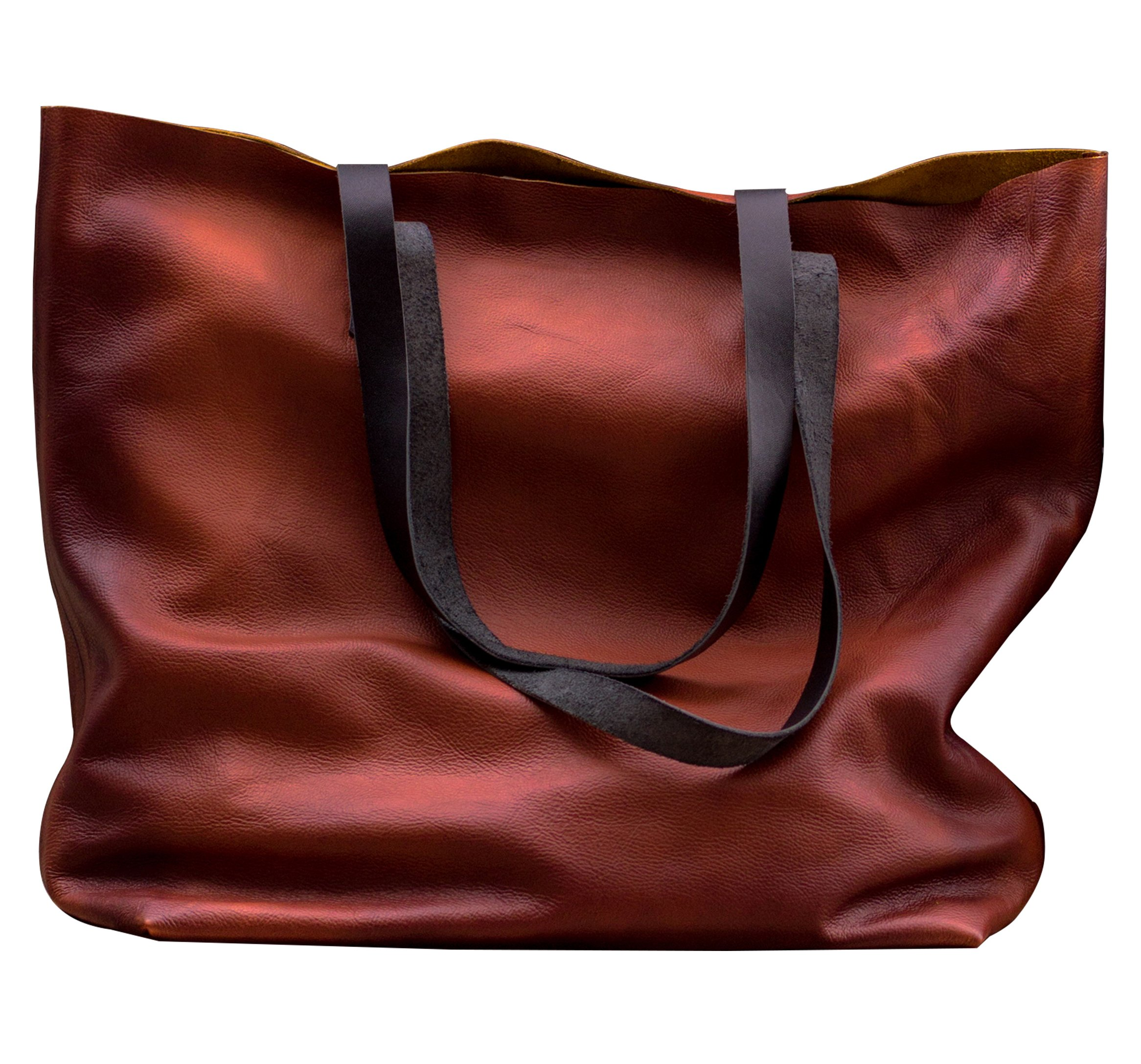 MONT5 Wax Finish Carry All Brown Leather Tote Women Work Shoulder Laptop Bag
