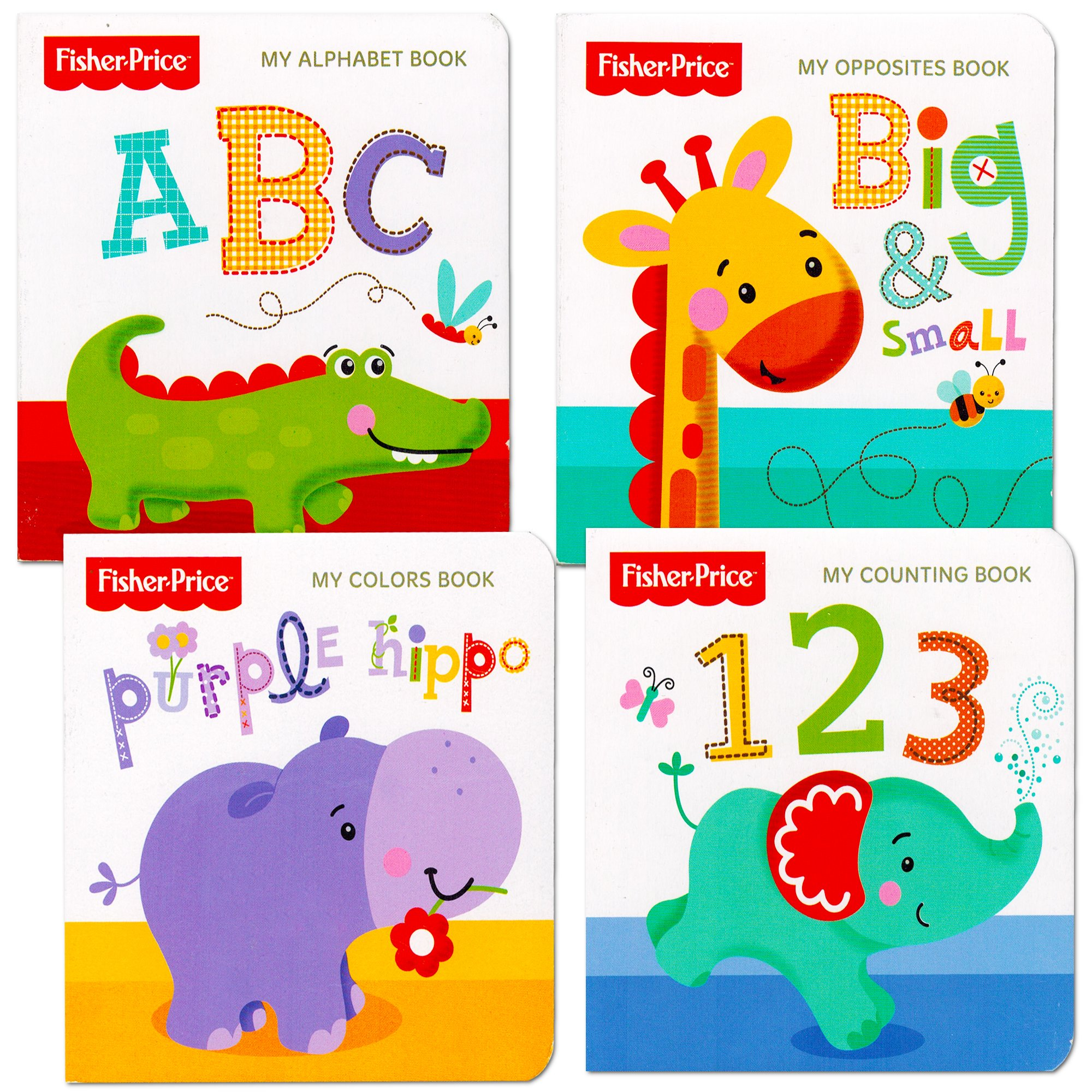 Fisher-Price ''My First Books Set of 4 Baby Toddler Board Books (ABC Book, Colors Book, Numbers Book, Opposites Book)