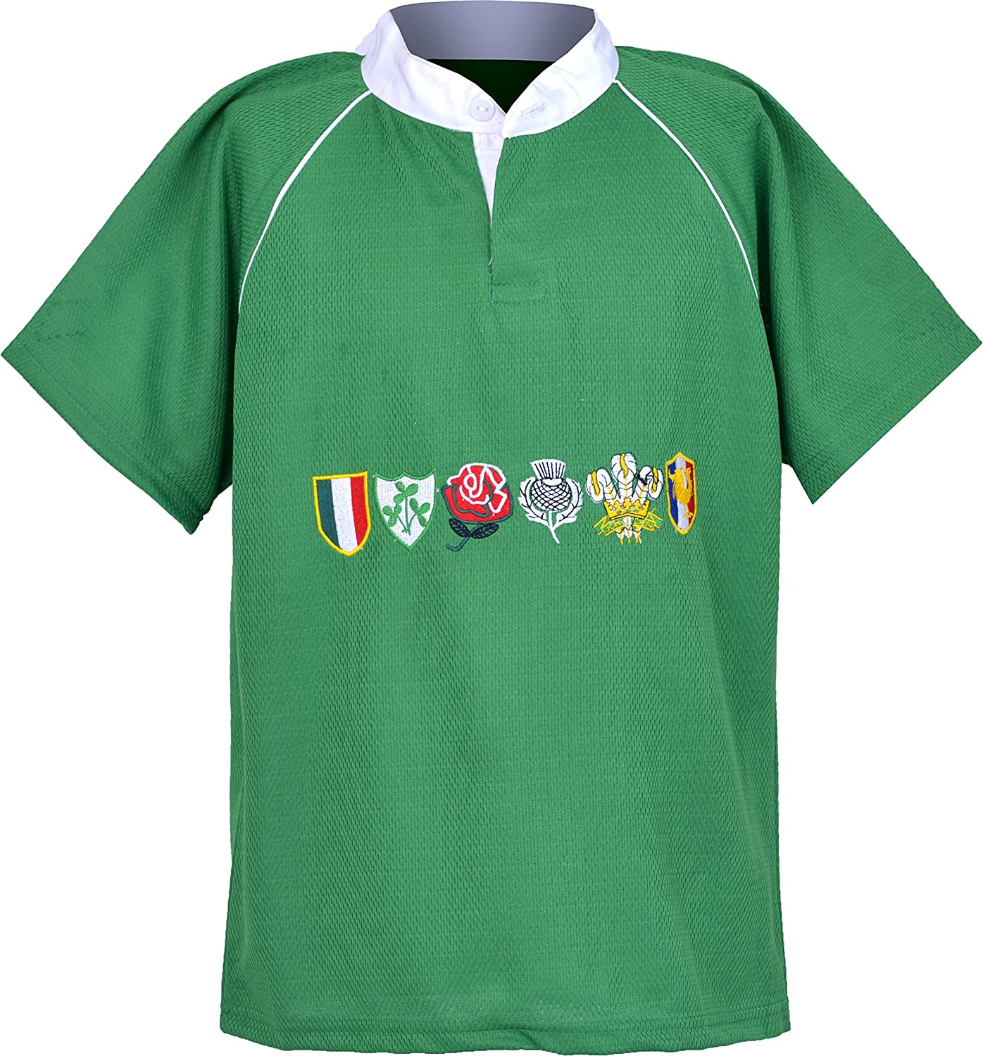 Activewear Children 6 Nation Rugby Shirts Size 3/4Y to 11/12 Year (M 5/6Y, EMERED Green) NMK6NRS01
