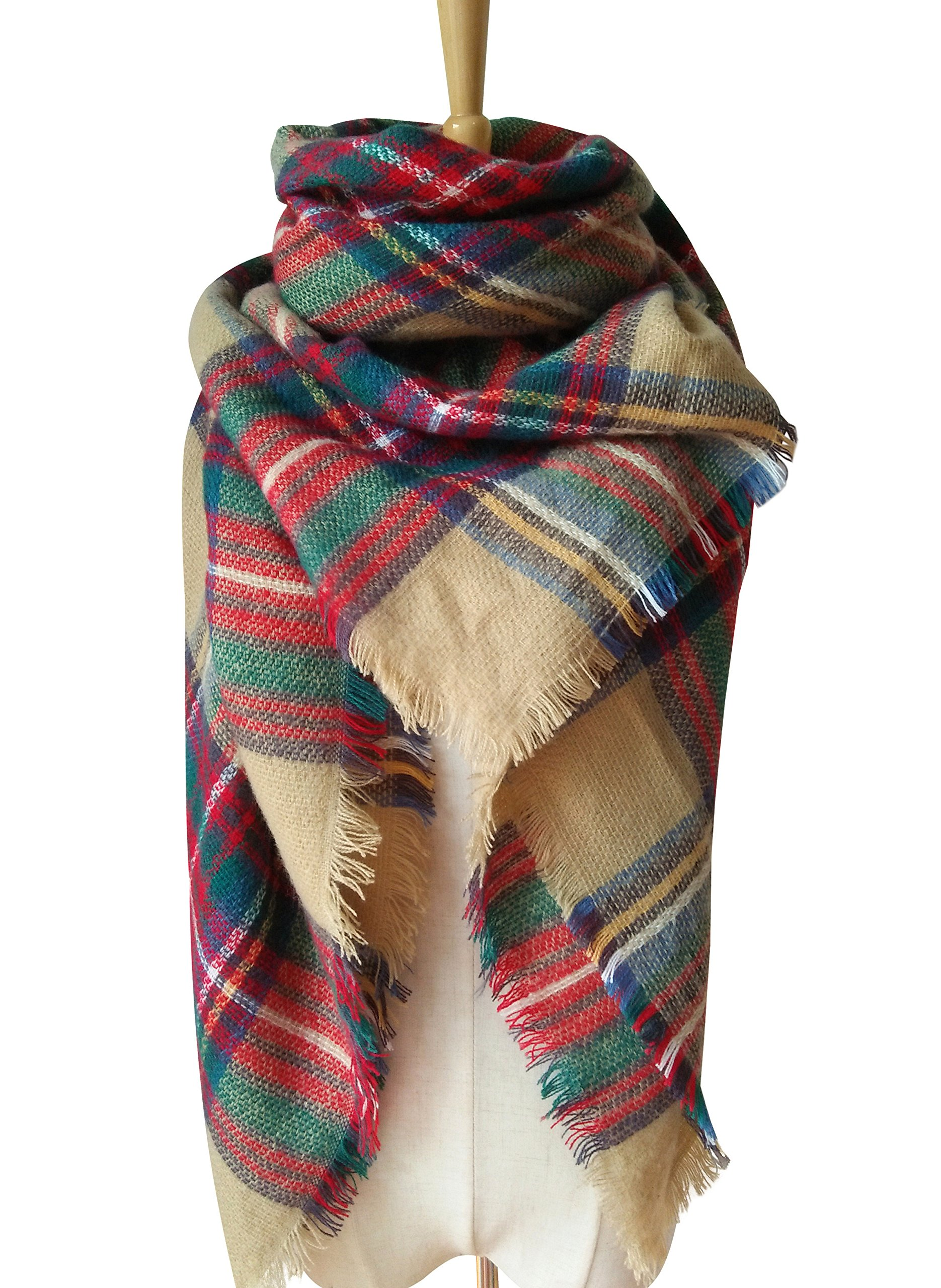MOTINE Tartan Blanket Scarf Stylish Winter Warm Pashmina Wrap Shawl for Women (Khaki)