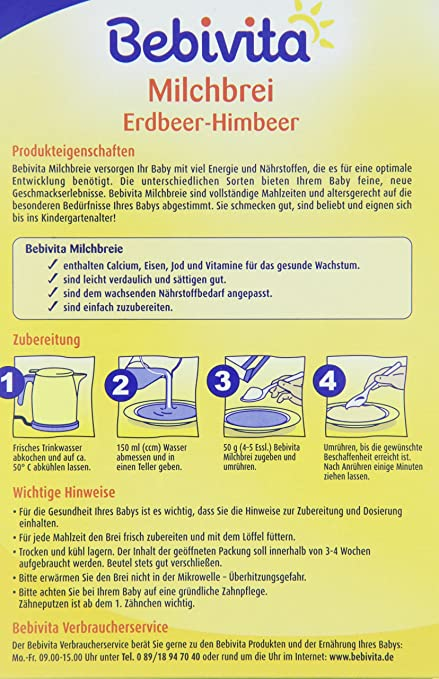 Amazon.com : Bebivita 1216 Milchbrei Erdbeer-Himbeer, 6er Pack (6 x 300 g) : Grocery & Gourmet Food