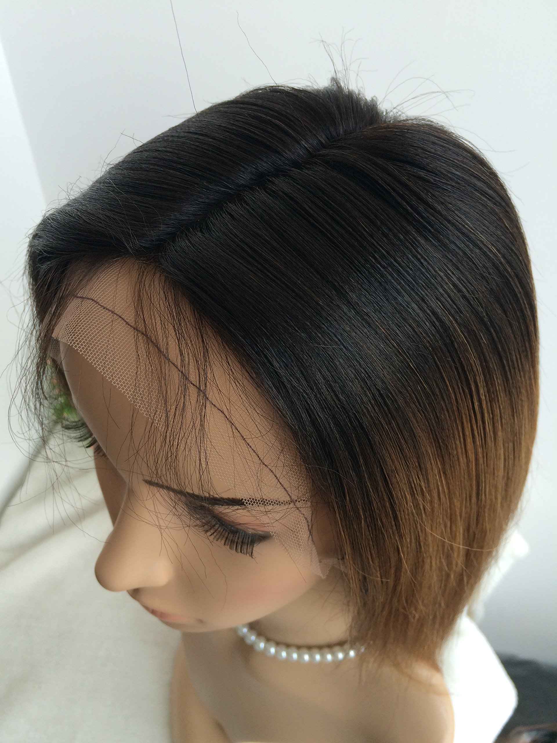 CHINESE VIRGIN 10 INCH,LIGHT YAKI,FULL LACE WIGS SILK TOP,BLEACHED KNOTS--hot sale product!!! by April silk top wigs (Image #7)
