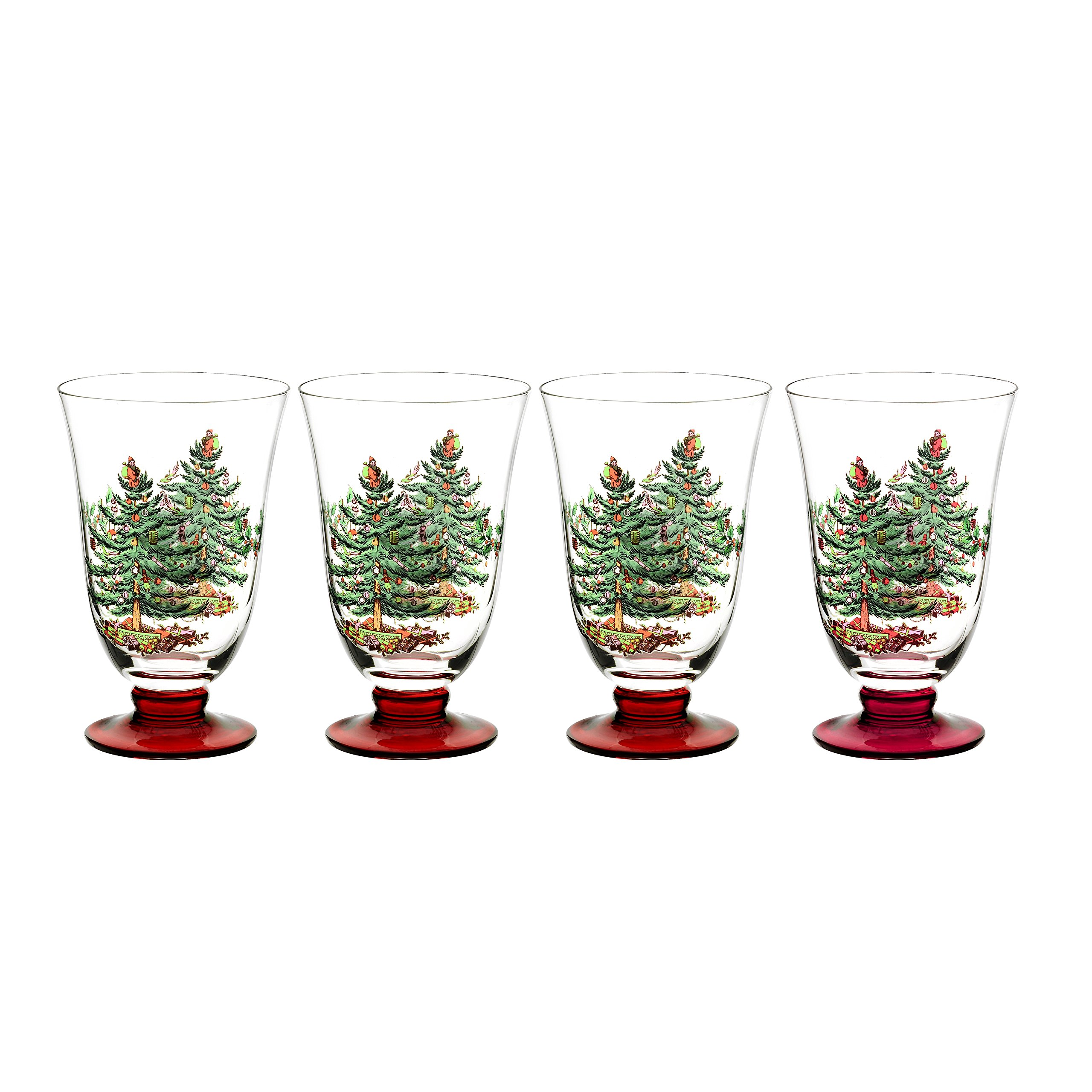 Spode Christmas Tree Glass Footed All Purpose Glasses with Red Stem, Set of 4, 18-ounce