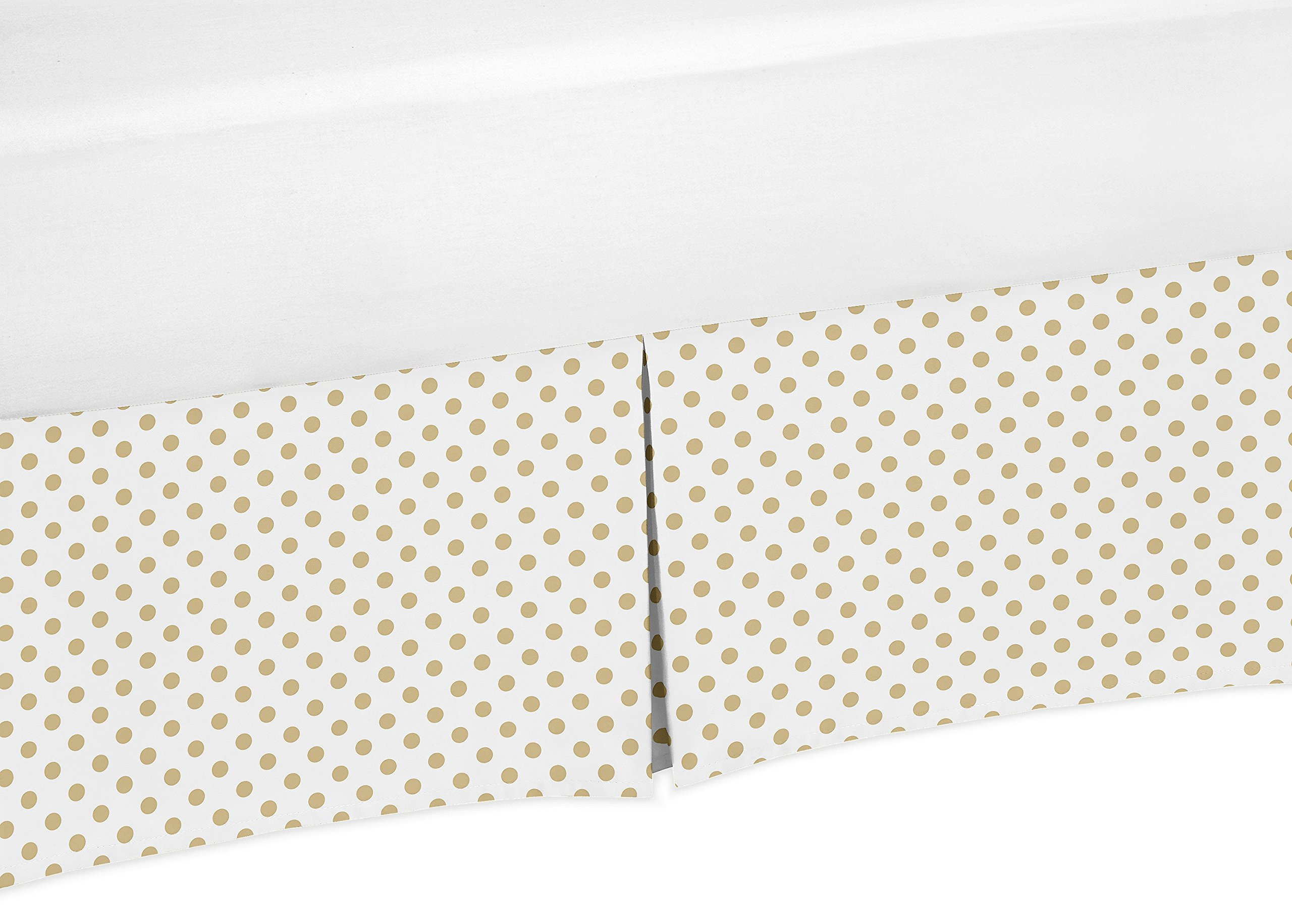 Sweet JoJo Designs Gold and White Polka Dot Pleated Toddler Bed Skirt Dust Ruffle for Watercolor Floral Collection