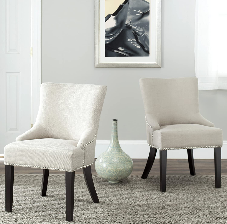 Safavieh Mercer Collection Christine Beige Viscose Nailhead Dining Chair, Set of 2