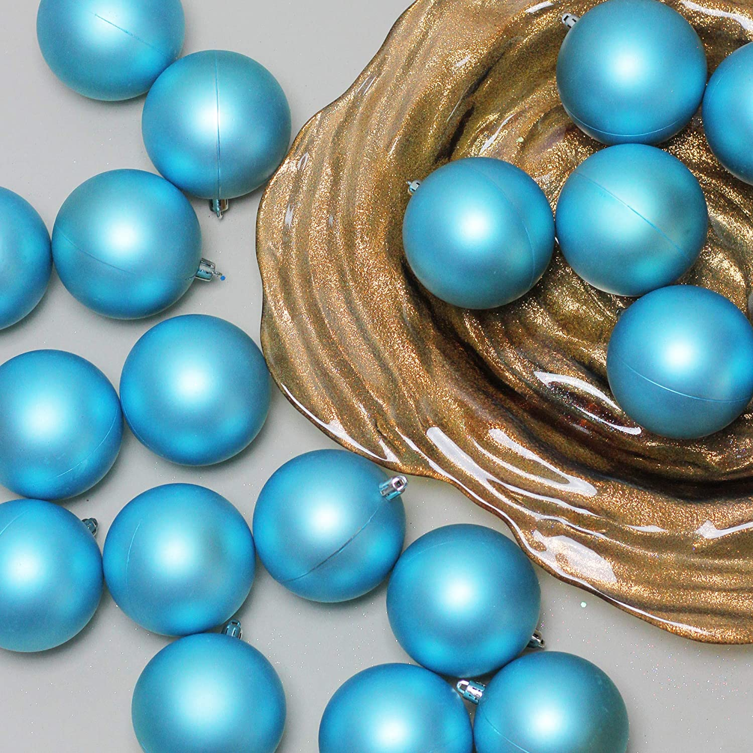 Northlight 32 Count Shatterproof Matte Turquoise Blue Christmas Ball Ornaments 3.25