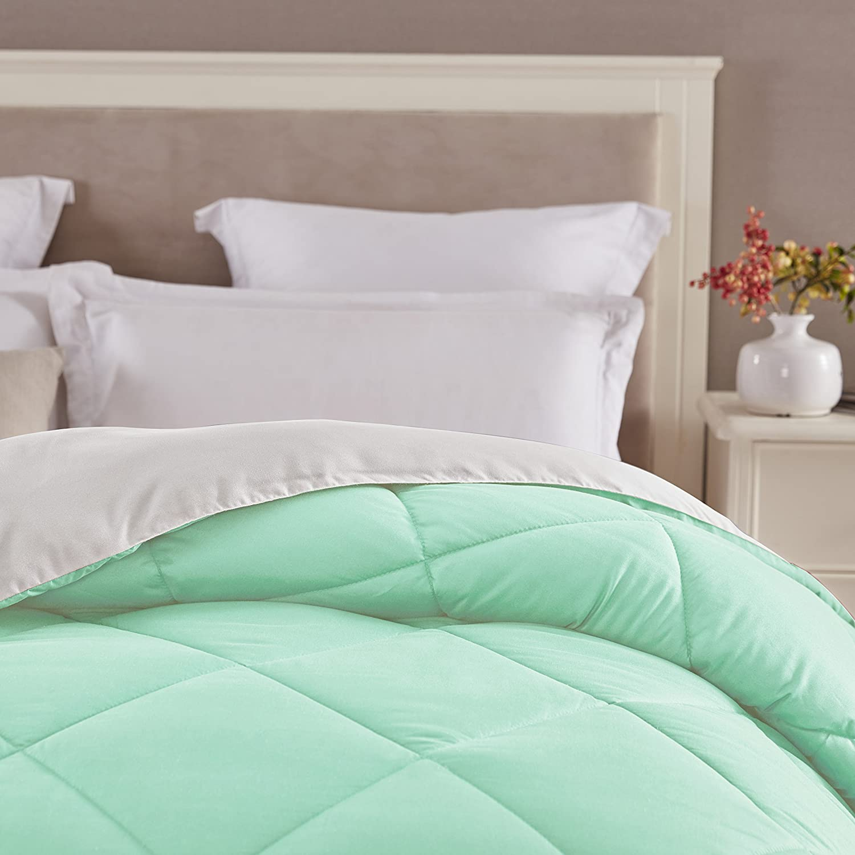 Seward Park Solid, Reversible Color Microfiber Comforter,Hypoallergenic Plush Microfiber Fill, Duvet Insert or Stand-Alone Comforter, Fall/Winter Blanket, King, Mint/White