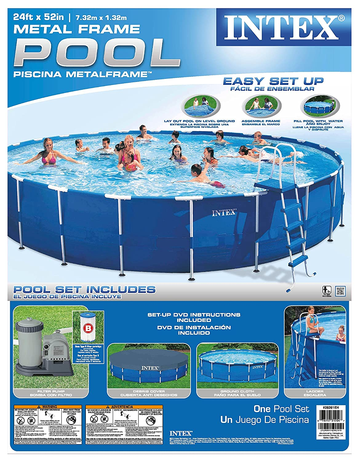 Amazon.com: Intex Metal Frame Pool Set, 24-Feet by 52-Inch (Older ...