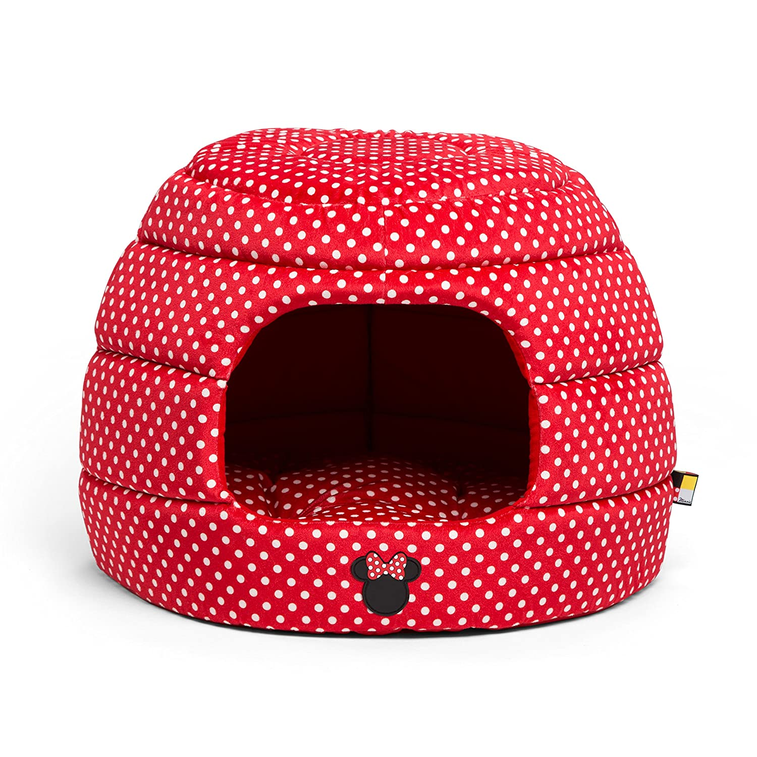 amazoncom disney minnie mouse 2in1 honeycomb hut cuddler in minnie dots red standard dog bedcat bed pet supplies