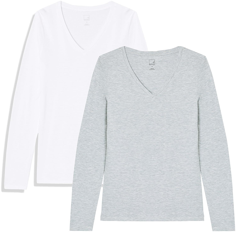 TALLA 46 (Talla del fabricante: XX-Large). Marca Amazon - MERAKI Camiseta de Manga Larga y Cuello de Pico Mujer