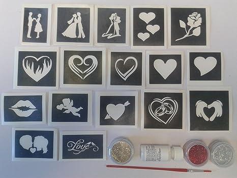 Dazzle Glitter Tattoos Corazón Y Amor Ambientada Brillo Tatuaje Con
