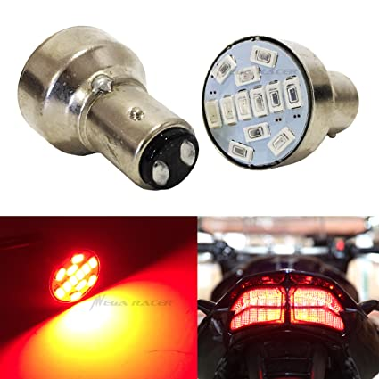 Amazon.com: Mega Racer Motorcycle 1157 Super Red LED 12 Chip BAY15D P21/5W Tail Stop Brake Light 7528 2057 2357 Scooter Chopper Bike Moped Lamp: Automotive