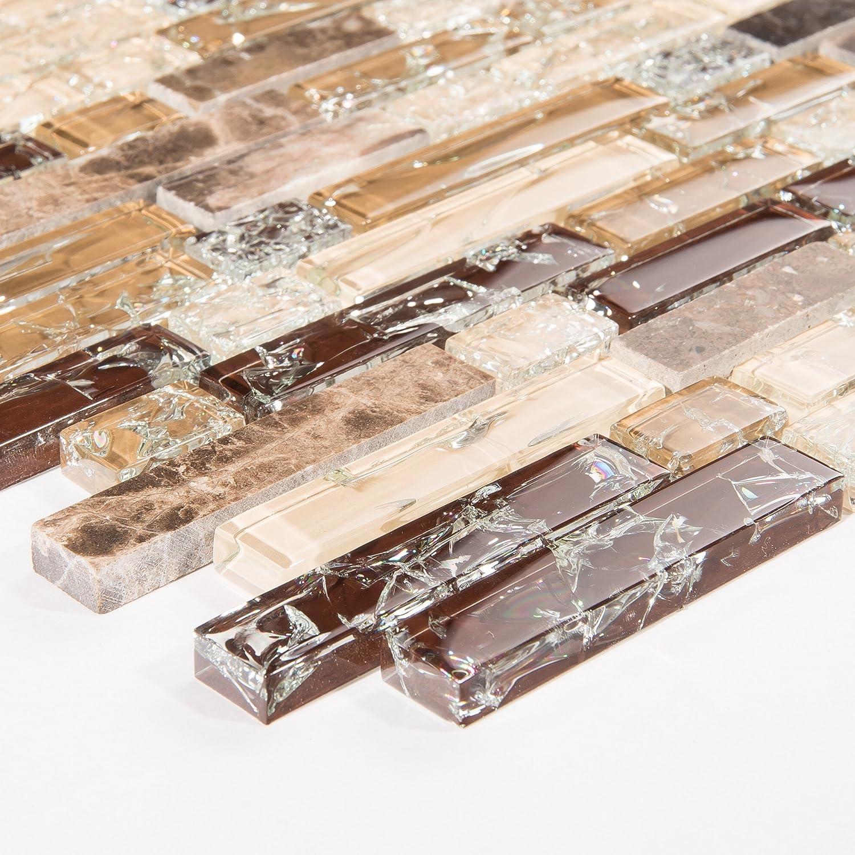 Patró n de 10 x 10 cm. Cristal Roto y má rmol piedra natural azulejos mosaico en color marró n y blanco con aspecto de ladrillo (mt0154 Sample) GTDE