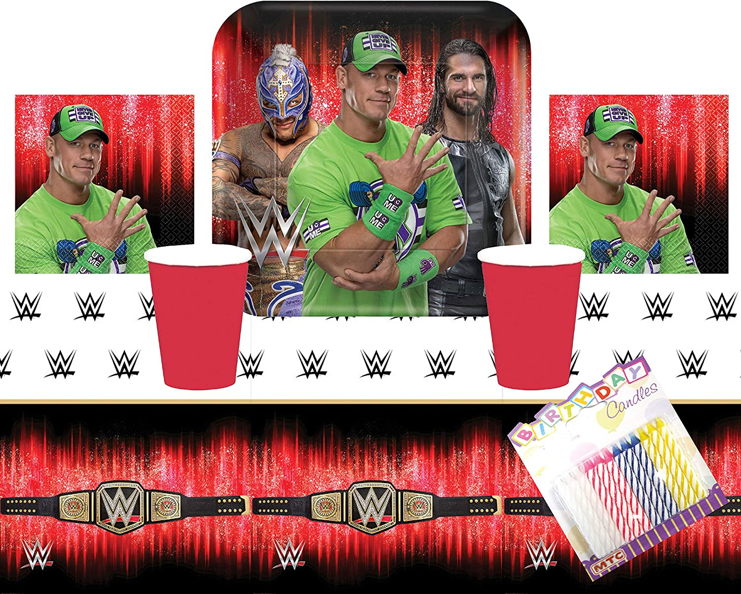 WWE Smash Wrestling Party Suppiles Pack Serves 16: Dinner Plates Luncheon Napkins Cups ans Table Cover with Birthday Candles (Bundle for 16)