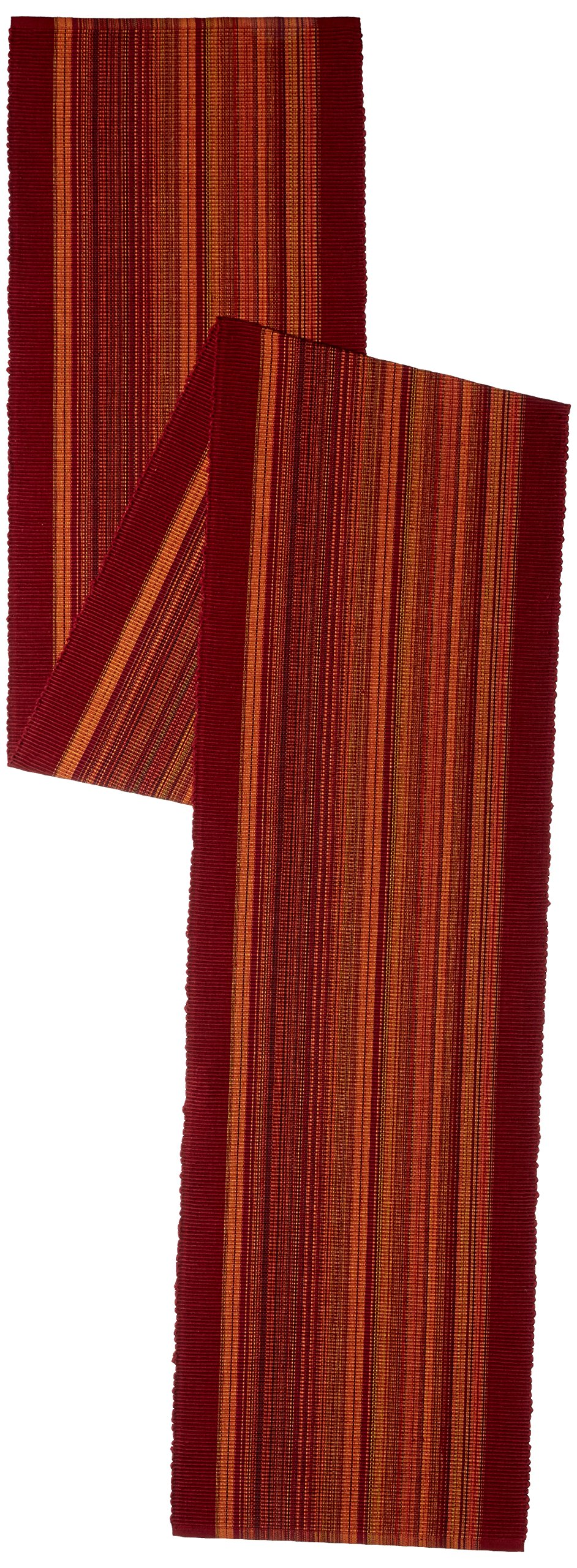 Elrene Home Fashions Cotton Table Runner Casual Classic Stripe, 13'' x 90'', Red