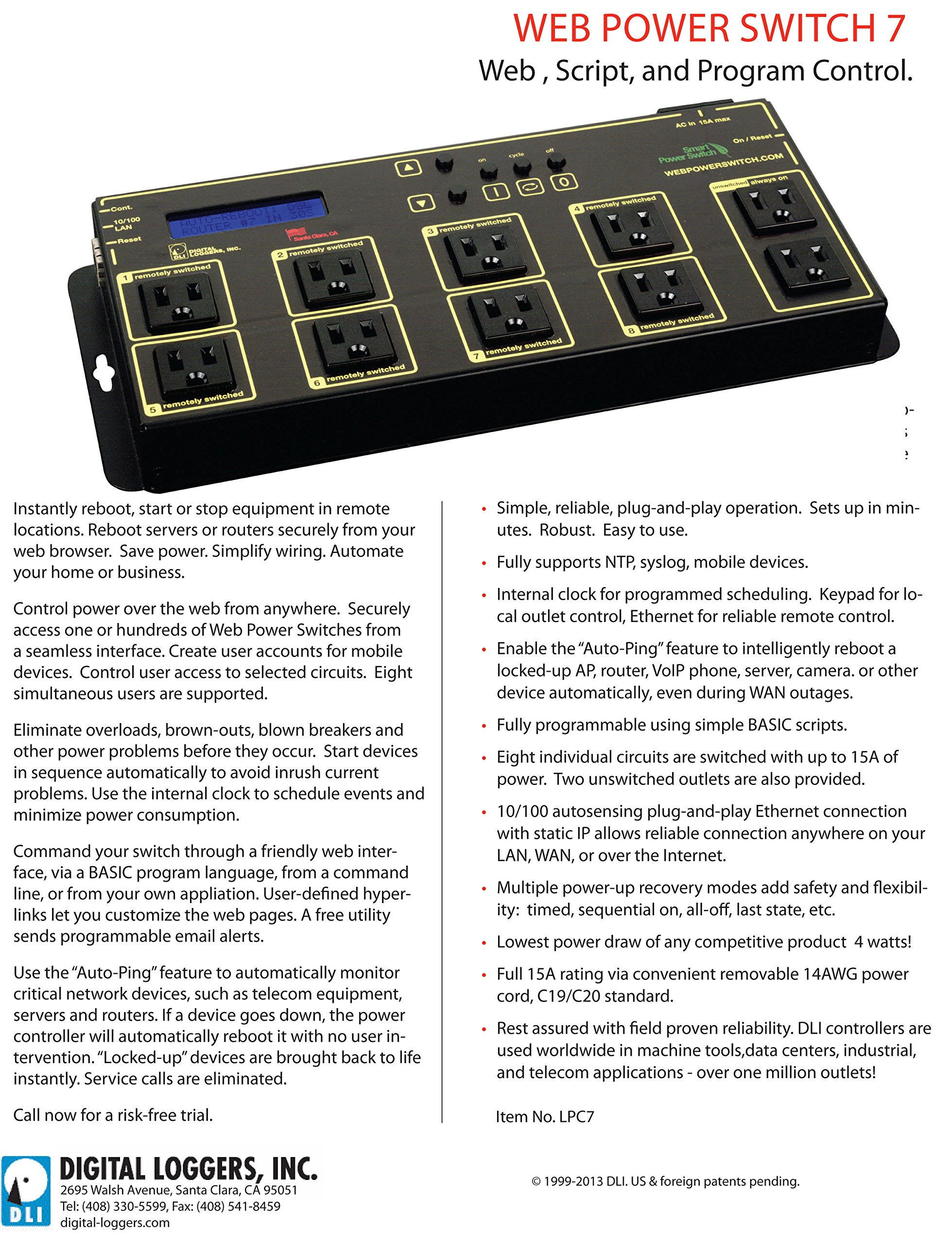 Web Power Switch 7 with HD Power Supply & Cord by DIGITAL LOGGERS (Image #5)
