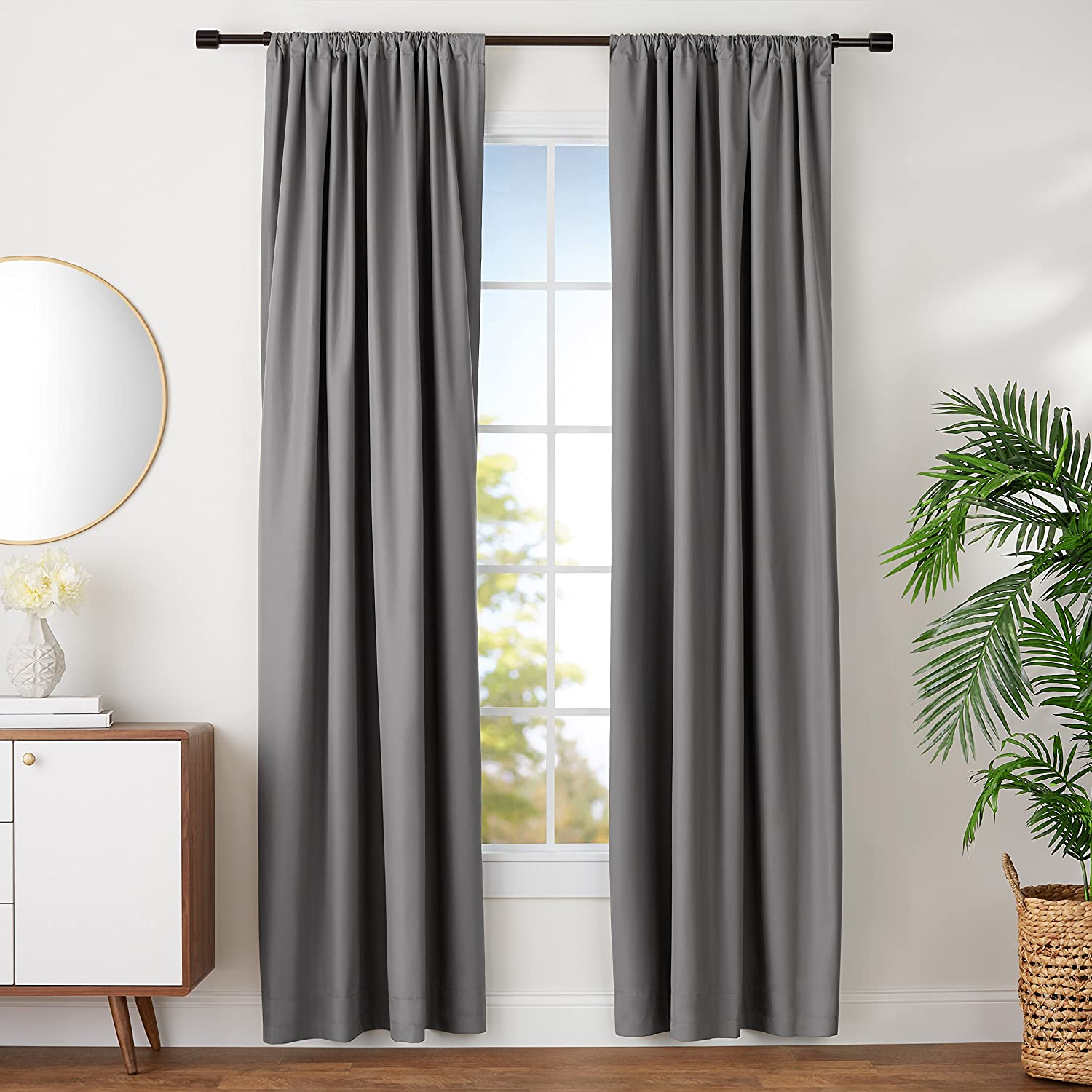 "AmazonBasics Room Darkening Blackout Window Curtains with Tie Backs Set, 42"" x 96"", Dark Grey"