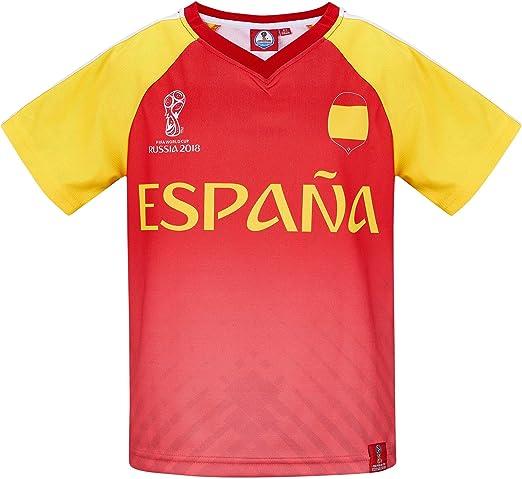2018 FIFA World Cup Chicos Camiseta Manga Corta - Rojo: Amazon.es: Ropa y accesorios