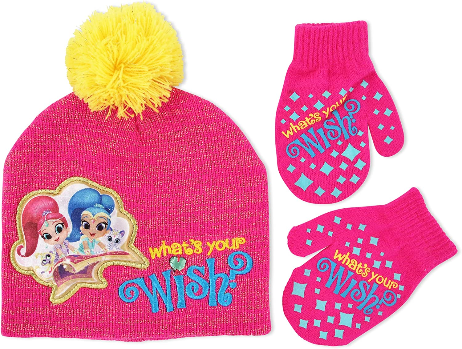 Nickelodeon Toddler Girls Shimmer and Shine Hat and Mitten Cold Weather Set, Age 2-5