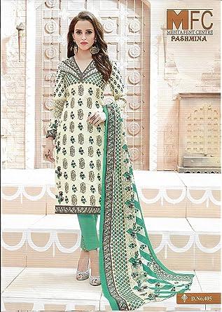 d6f0d08e26 MFC Mehta Fent Centre Women's Pashmina Lawn Cotton Dress Material (Green,  Free Size)