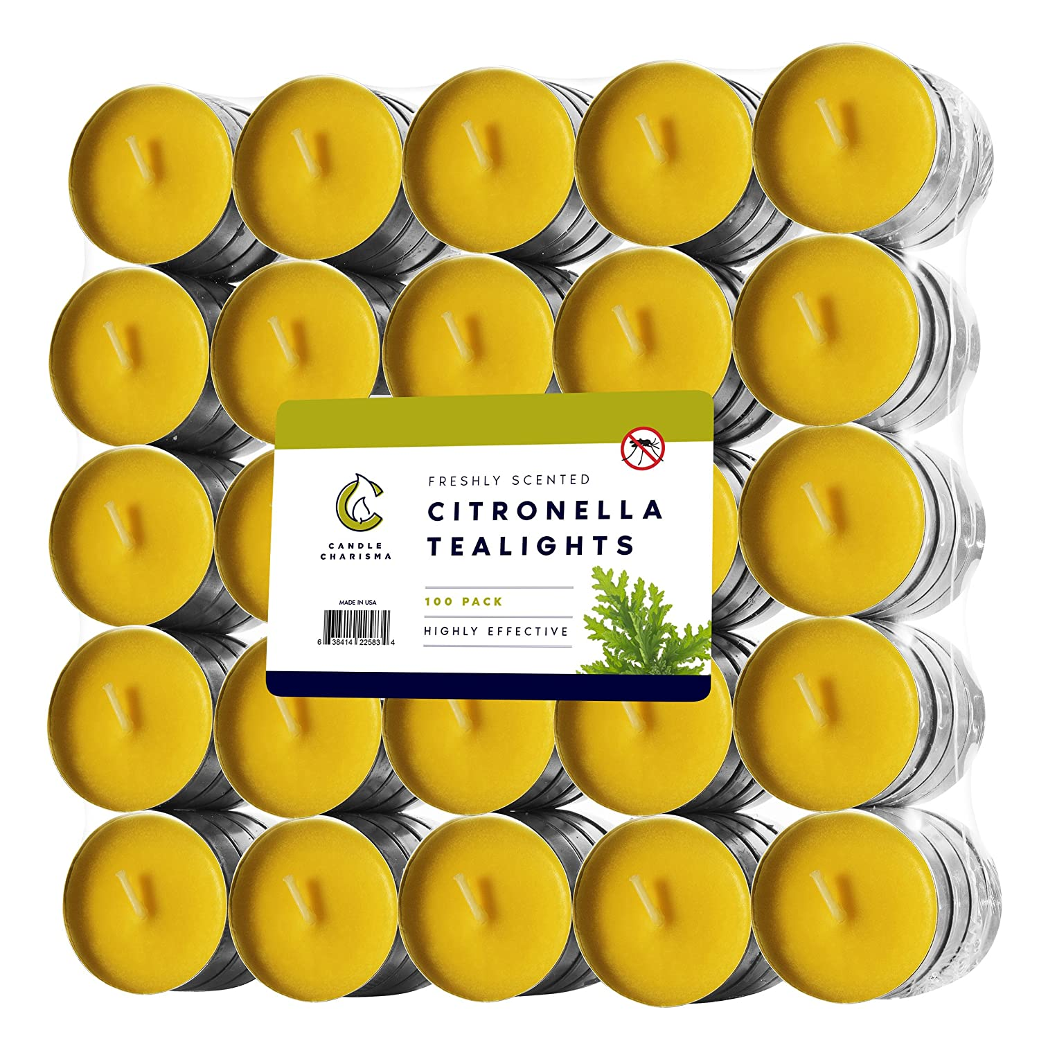 100 Citronella Oil Wax Tealight Candles Bulk - Mosquito Repellent - Deet Free - Yellow - Outdoor Indoor - Summer Candles - Made in USA Candle Charisma