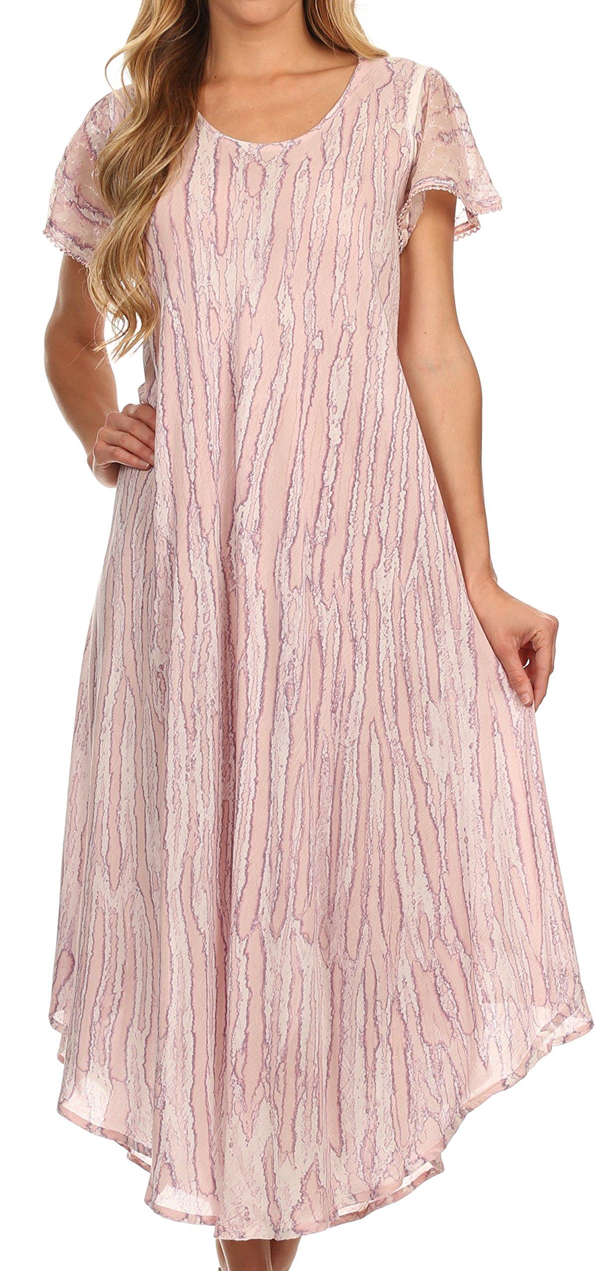 Sakkas 14802 - Faye Cap Sleeved Cotton Caftan Cover Up Dress - Violet - OS