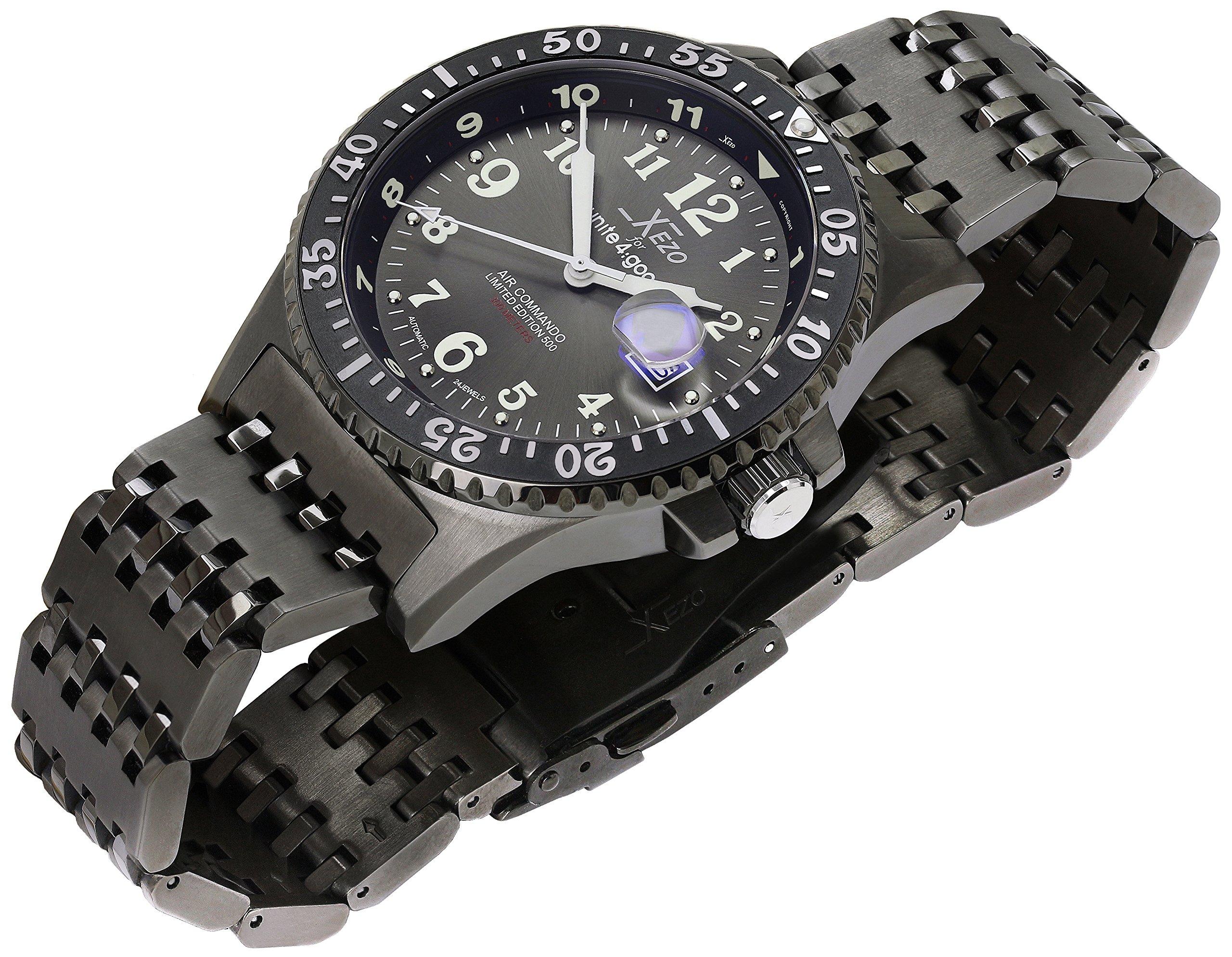 Xezo Air Commando Japanese-Automatic Diver's Pilots Gun-Metal Watch. Ruthenium Dial. 2nd Time Zone. 300 M WR