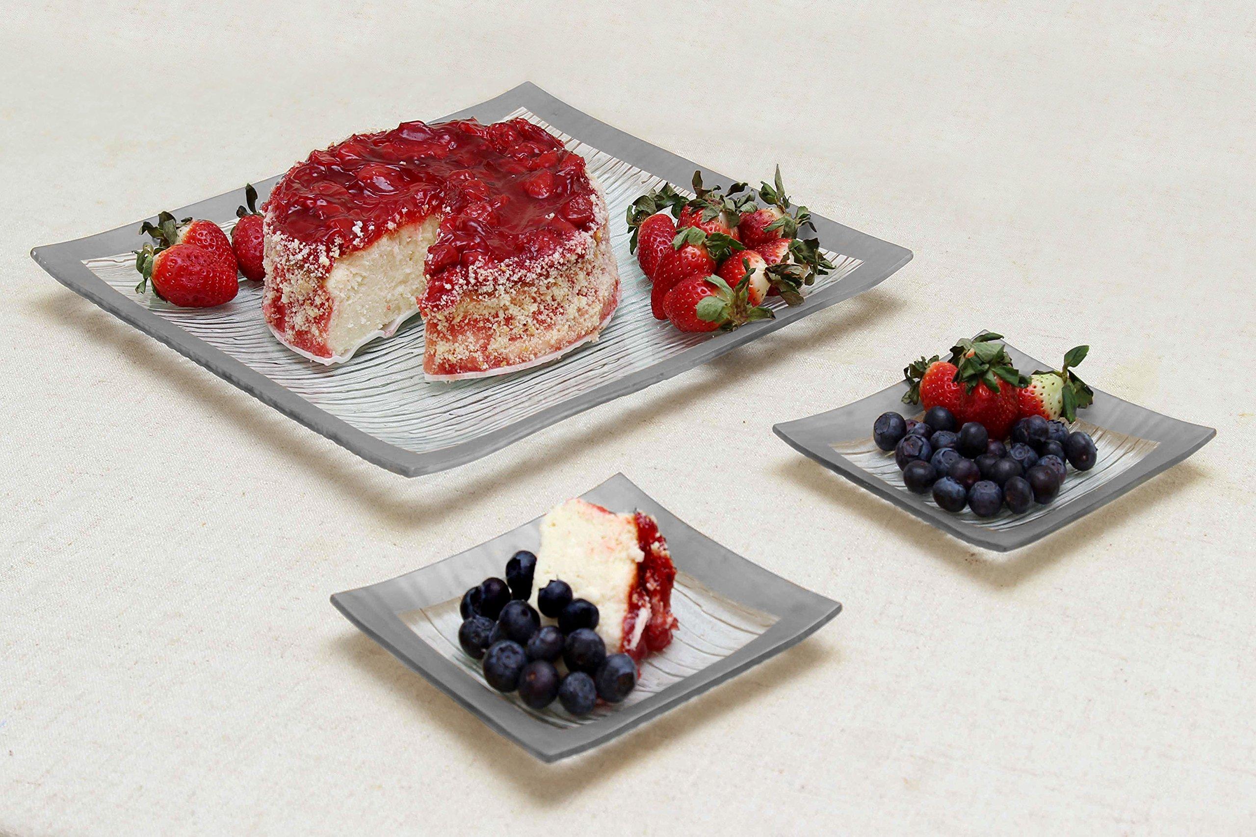 GAC Elegant Designed Square Tempered Glass Dessert Plates Set of 4 – Break and Chip Resistant - Oven Proof - Microwave Safe - Dishwasher Safe 6 Inch by GAC (Image #4)