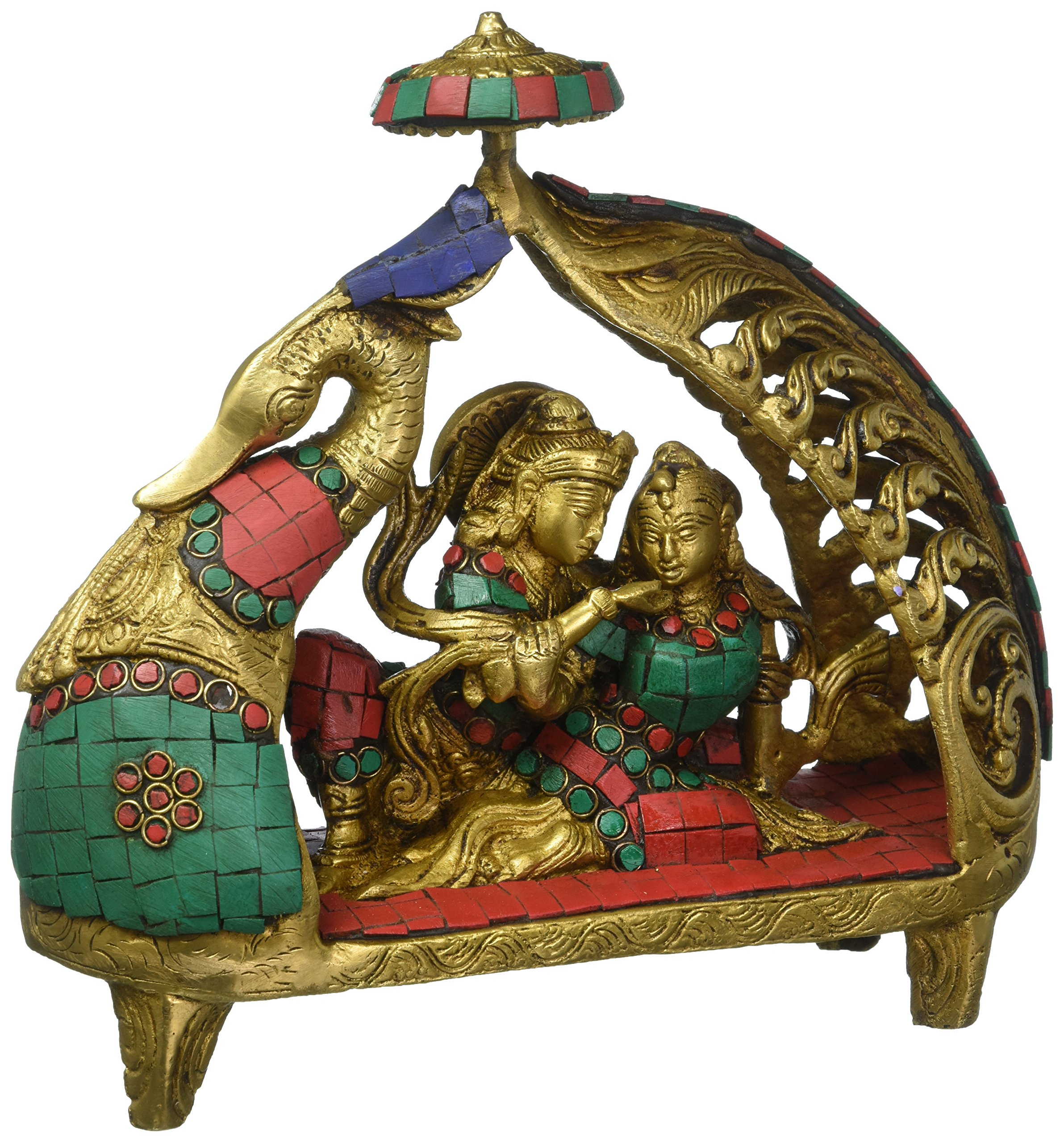 Aone India Large Rare Radha Krishna statue in a peacock shape boat - Brass Sculpture with Hand wortk of Turquoise Coral Stones + Cash Envelope (Pack Of 10)
