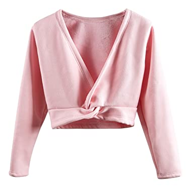 5e0fc4991 DANSHOW Kids'Long Sleeve Wrap Tops Leotards for Girls Dance Ballet Cardigan  Dress(110cm