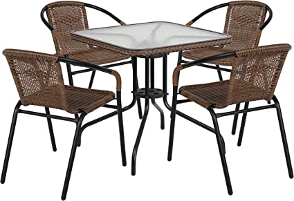 Flash Furniture 28 Square Glass Metal Table with Dark Brown Rattan Edging and 4 Dark Brown Rattan Stack Chairs