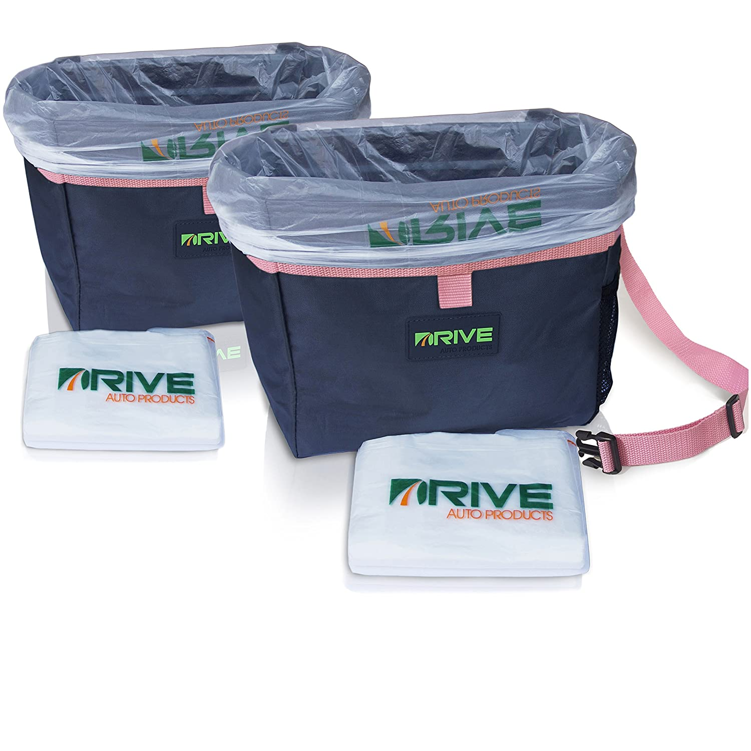 The Drive Bin Car Garbage Can, Pink - Best Auto Trash Bag for Litter, Free Waste Basket Liners - Hanging Recycle Kit is Universal, Waterproof Organizer Makes a Great Drink Cooler & Road Trip Gift